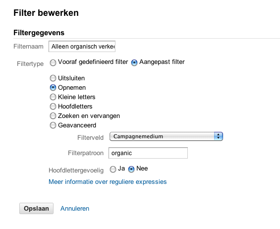 Filter 1 - Ranking met Google Analytics